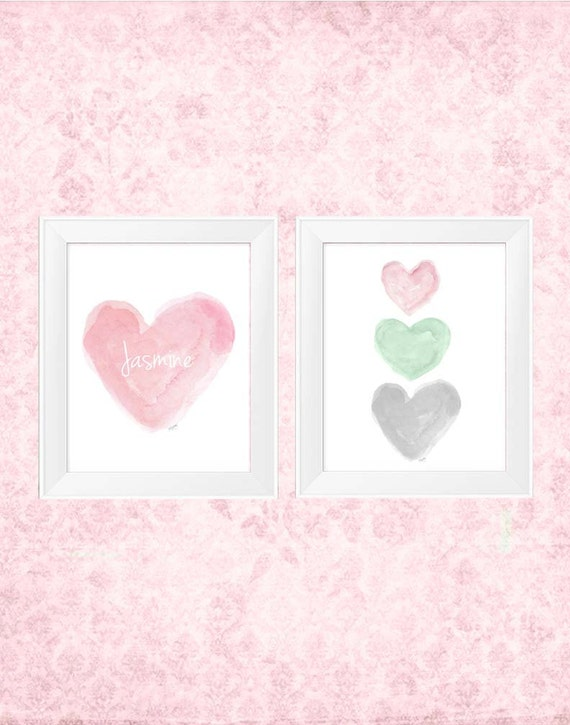 Mint nursery artwork : ... prints, pink, mint and gray nursery art, pastel nursery, watercolor