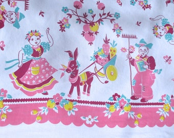 Vintage 1940's BRODERIE TABLECLOTH Farmer & Wife / anthropomorphic vegetables Beautiful Condition
