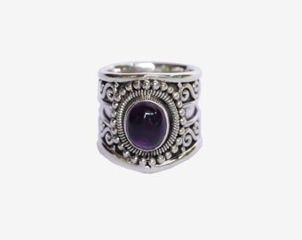 Amethyst Cocktail Ring, Gemstone, Navajo, Bohemian Ring, Free, Personalized, Engraving, Statement, Bohemian, Solid 925 Sterling Silver,