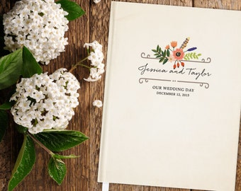 Woodland Wedding Guest Book; personalized, floral, rustic, antiqued, weathered, vintage