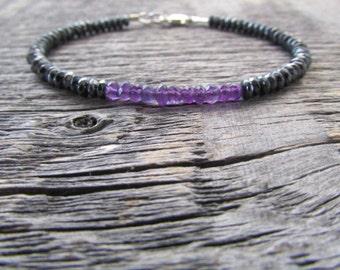 Amethyst Bracelet, Amethyst Gemstone Bracelet, February Birthstone Bracelet, Bead Bracelet, Hematite Bracelet, Chakra Bracelet, Bracelet Set