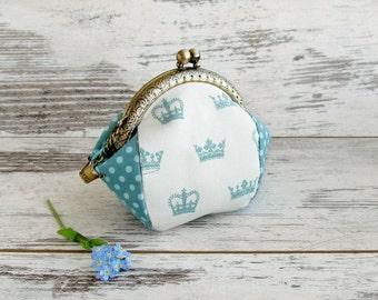 Coin purse turquoise crown, polka dots, change purse kisslock clasp purse