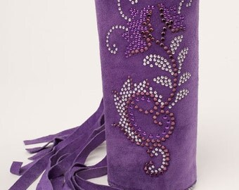 "Purple Suede Cuff Bracelet with handcut Fringe. Hand set Rhinestones and Beads Wide 7"" Cuff Bracelet. Designer One of a Kind Cuff"