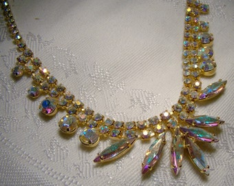 Aurora Borealis Rhinestone Necklace 1950s Marquise Fan Shape Gold Plate