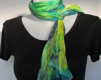 Silk scarf long crinkle hand painted - turquoise, navy blue and yellow