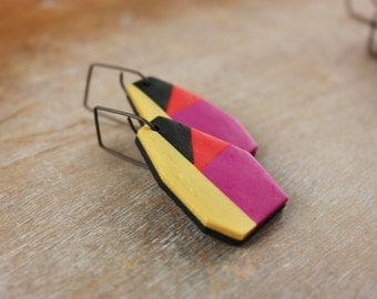 Contemporary geometric color block dangle clay earrings, modern colorful jewelry