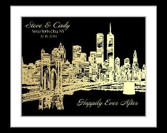 A NYC skyline, new york skyline wall art, city skyline poster, new york cityscape, personalized anniversary gifts for boyfriend, ny skyline