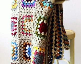 Colorful Afghan Blanket, Throw, Home Decor, Mothers Day, granny square, crochet blanket, OOAK