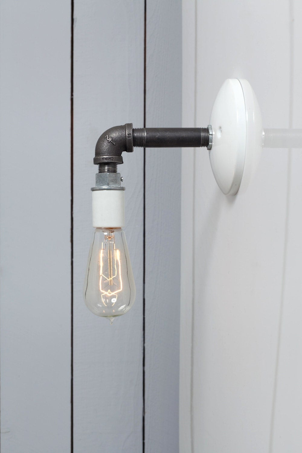 Industrial Pipe Wall Lights : Industrial Wall Sconce Black Pipe Light Bare Bulb Lamp