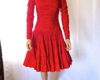 "SALE! Georges Rech Paris Red Taffeta Strapless Dress w/ Sleeves 26""w"