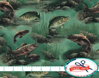 FISHING Fabric by the Yard, Fat Quarter Underwater Fabric Fish Fabric Bass Fabric Quilting Fabric 100% Cotton Fabric Apparel Fabric t4-38