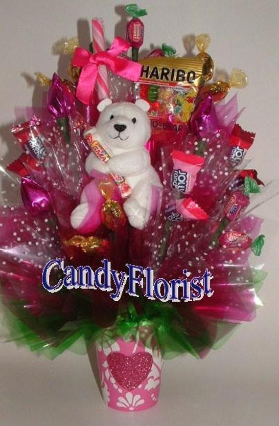 Gummi Bears Candy Bouquet W Plush Teddy Amp Arranged Chocolate