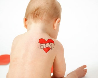 funny valentine gift for mom large temporary tattoo large red heart fake tattoo retro heart vintage mom tattoo baby valentine photoshoot