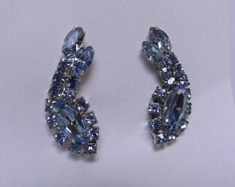 Vintage Rhinestone Earrings  Ice Blue Rhinestone Clip-On