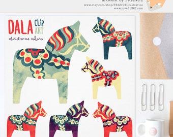 GET 3 FOR 2. Watercolor Christmas Dala Horse Clip Art. Nordic Folk Art. Scandinavian Clipart. Dalahäst Dalecarlian horse. CA008, CA009.