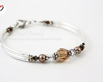 Bronze Crystal Bracelet, Topaz, Bronze, Swarovski crystal Bracelet, Topaz Crystal Bracelet,  Brown Crystal, Christmas Gift for her, Under 50