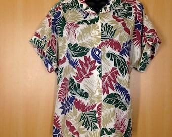 Vintage Hawaiian Women's Square Blouse / Size 18 / Russ Ladies Button Up