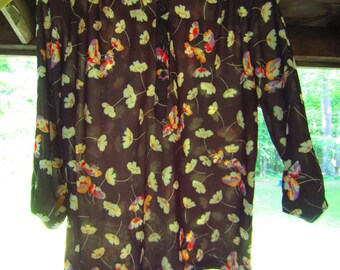 Vintage 1960s Floating Flowers Blouse // 60s hippie // psychedelic style // NOS