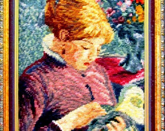 25%OFF//*Trammed Needlepoint Kit. A Vintage Reproduction Of a Renoir Painting. Made in Maderia Portugal.On SPECIAL!!