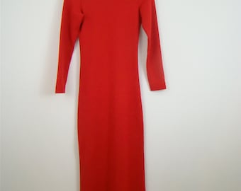 On Sale -  Before 50 Dollars - Cathy HardWick Red Knit Maxi Dress