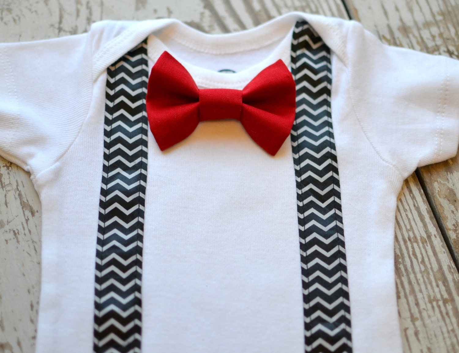 Baby boy clothes infant red bow tie suspenders bowtie chevron for Baby shirt and bow tie