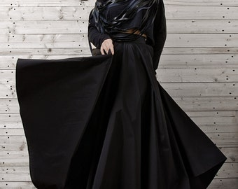 Maxi Black Skirt / Long Black Skirt / Oversize Long Skirt / Evening Formal Skirt by METAMORPHOZA