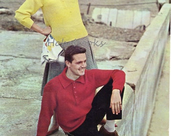"""womens mens polo shirt sweater knitting pattern pdf DK ladies jumper with collar vintage 1950s 32-42"""" DK light worsted 8ply instant download"""