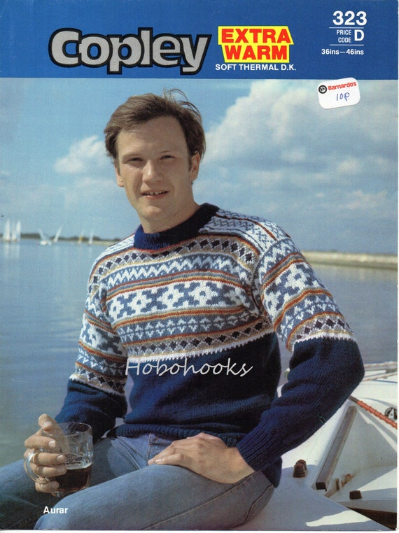 Mens fair isle sweater knitting pattern fair isle yoke dk
