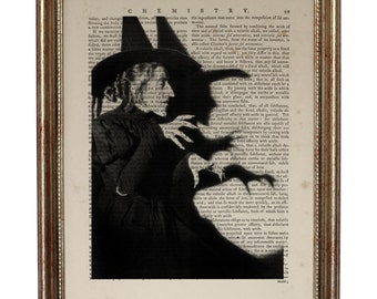 Wicked Witch Wizard of Oz Halloween Decor Art Print on Vintage Dictionary Page, Vintage Dictionary Art Print, Upcycled Book 8 x 10 inches