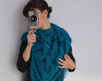 Crochet Lace Shawl, Triangle Wrap Shawl, Teal Blue Wrap, Lace Triangle Shawl, Crochet Scarve Shawl, Women Shawls, Long Scarves
