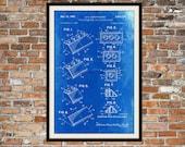 LEGO-Patent - Blueprint Kunst der Lego-Stein gewinkelte technische Zeichnungen, technische Zeichnungen Patent blau Drucken Kunst Elements 0073