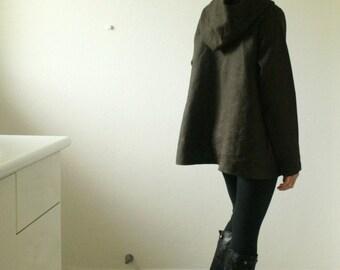 LINEN JACKET - GRETEL / hoodie coat / olive brown / women / winter/ hooded dress / australia / eco / handmade / organic / pamelatang