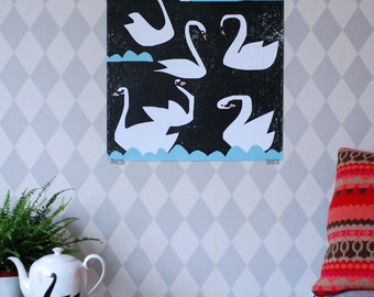 SUMMER SALE! Swan poster extra large Night swans print