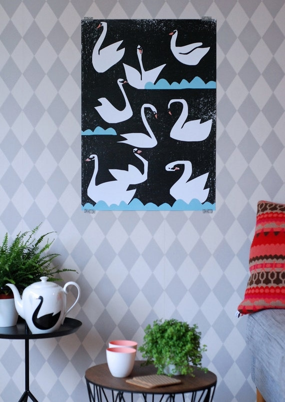 Swan poster extra large Night swans print
