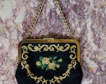 Tapestry flower clutch bag, vintage