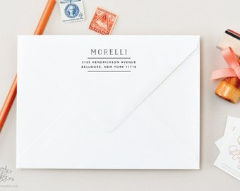 Drafted Name Modern Font Return Address Custom Wood Handled Stamp by Sincerely, Jackie