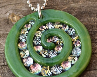 Emerald Green Spiral // Dichroic Fused Glass Pendant // StephGlass Original Art
