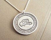 Elephant Family Necklace, Two Moms, Two Dads, Mom Dad and Baby, New Family, Fine Silver, Sterling Silver Chain, Made To Order