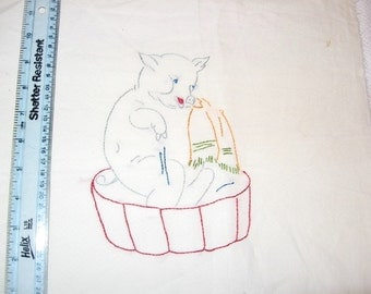 """Vintage 1930s Pig in Tub Hand Embroidered 15"""" X 14"""" Cotton Fabric Square Anthropomorphic Storybook Nursery Rhyme Character Quilt Block Doily"""