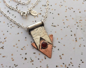 Rough Geometry with Carnelian Necklace - Unique Sterling Silver, Copper, and Carnelian Necklace