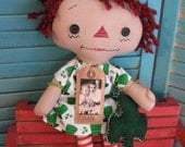 SALE Primitive Saint Patrick Irish Red Haired Raggedy with Green Shamrock