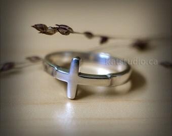 Silver cross ring, Cross Ring, Sideways Cross Ring, cross ring sterling silver, Sterling Silver 925, Jewelry by Katstudio