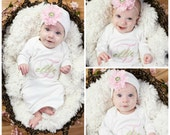Newborn Girl Take Home Outfit Personalized Monogram Clothes Bodysuit or Gown With Beanie Hat Headband Options Pink Green Baby Girl Gift