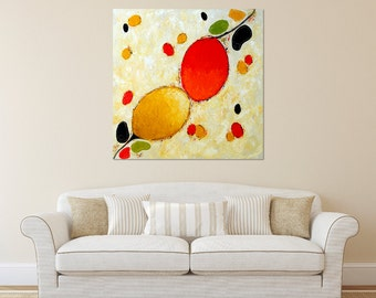 Abstract painting, Abstract Art, Non-Objective Art, Romantic Art, Organic Art,  Organisms, Pods, Red and Yellow Art