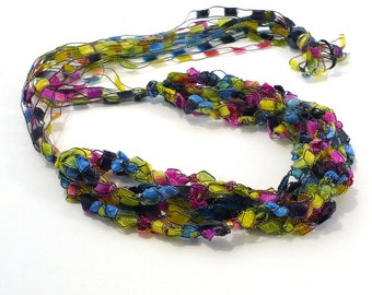 Multicolored Ladder Yarn Necklace - Handmade Fiber Necklace in Stained Glass Colors, Crochet Choker, Vegan Jewelry, Ready to Ship