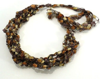 Brown & Copper Ladder Yarn Necklace - Brown Ombres Ribbon Necklace, Fiber Necklace, Crochet Choker, Vegan Necklace, Handmade in the USA
