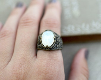 Opal and Antique Bronze Adjustable Ring