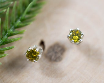1/4CT Yellow Diamond Studs in Sterling Silver, Yellow or White Gold