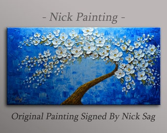 "Impressionist Contemporary Oil painting on canvas heavy Impasto - Aegean Flowers- By Nick Sag 40"" x 20"
