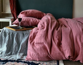 Marsala Linen bedding set: quilt cover and 2 pillowcases. Stonewashed natural linen bedding